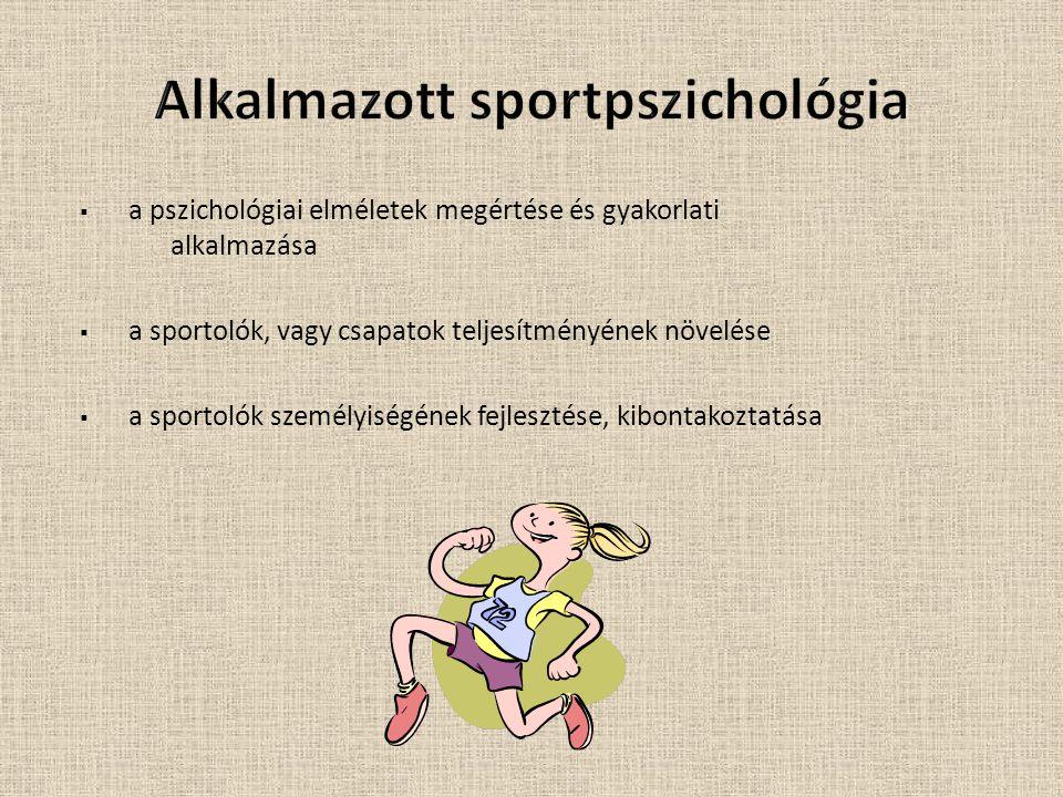  a pszichológiai elméletek megértése és gyakorlati alkalmazása  a sportolók, vagy csapatok teljesítményének növelése  a sportolók személyiségének fejlesztése, kibontakoztatása