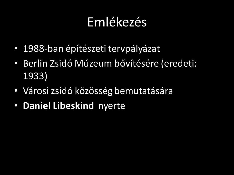 Emlékezés 1988-ban építészeti tervpályázat Berlin Zsidó Múzeum bővítésére (eredeti: 1933) Városi zsidó közösség bemutatására Daniel Libeskind nyerte