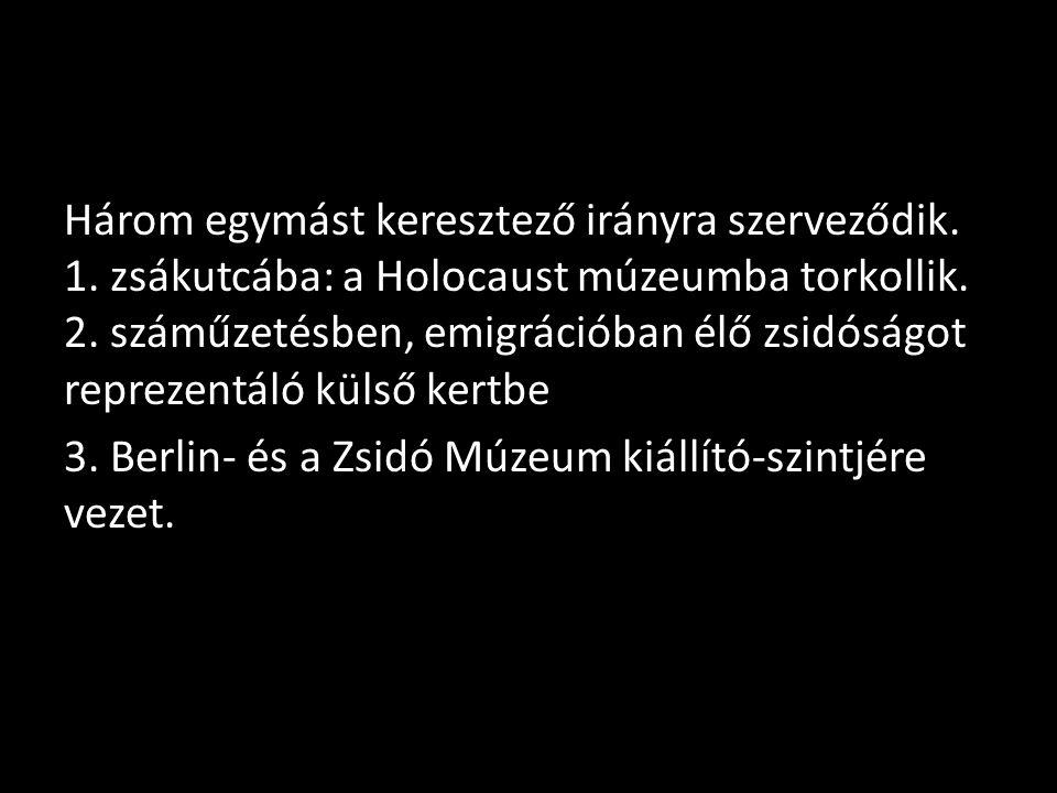 Három egymást keresztező irányra szerveződik. 1. zsákutcába: a Holocaust múzeumba torkollik.