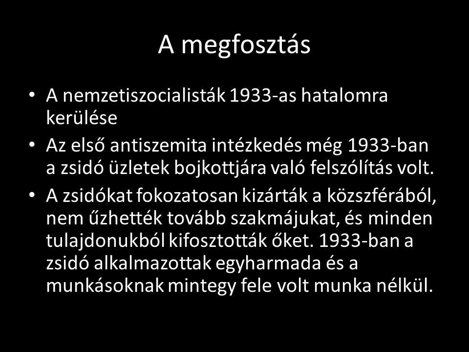 A megfosztás A nemzetiszocialisták 1933-as hatalomra kerülése Az első antiszemita intézkedés még 1933-ban a zsidó üzletek bojkottjára való felszólítás volt.