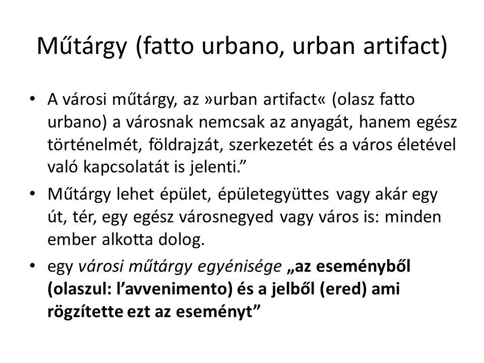 Műtárgy (fatto urbano, urban artifact) A városi műtárgy, az »urban artifact« (olasz fatto urbano) a városnak nemcsak az anyagát, hanem egész történelmét, földrajzát, szerkezetét és a város életével való kapcsolatát is jelenti. Műtárgy lehet épület, épületegyüttes vagy akár egy út, tér, egy egész városnegyed vagy város is: minden ember alkotta dolog.