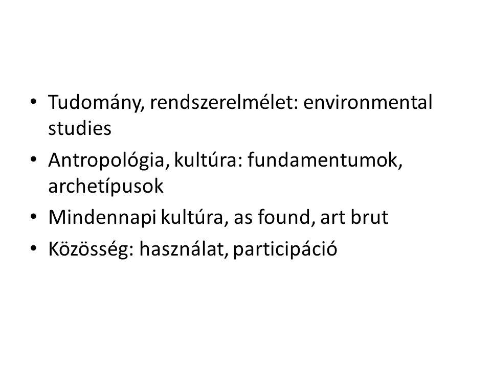 Tudomány, rendszerelmélet: environmental studies Antropológia, kultúra: fundamentumok, archetípusok Mindennapi kultúra, as found, art brut Közösség: használat, participáció