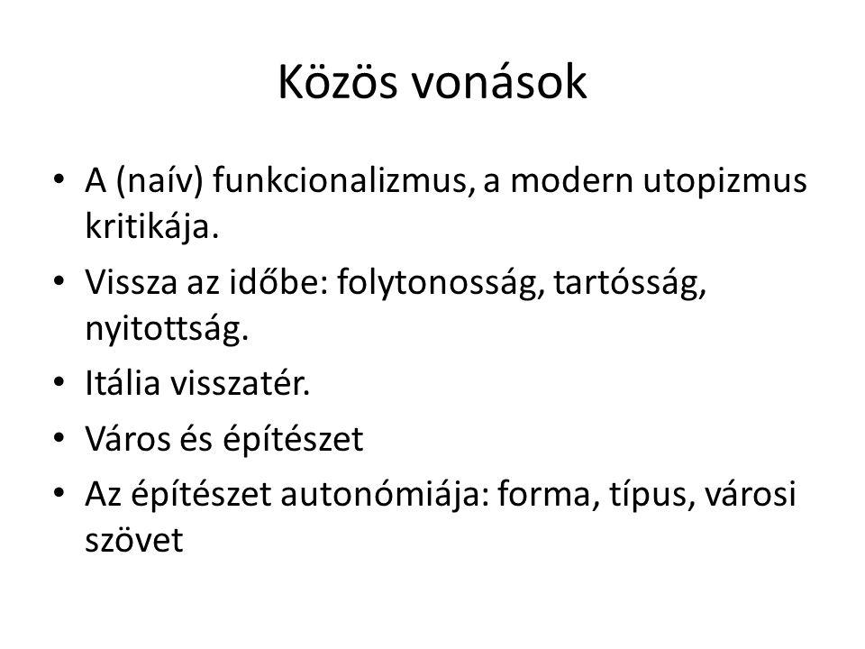 Közös vonások A (naív) funkcionalizmus, a modern utopizmus kritikája.