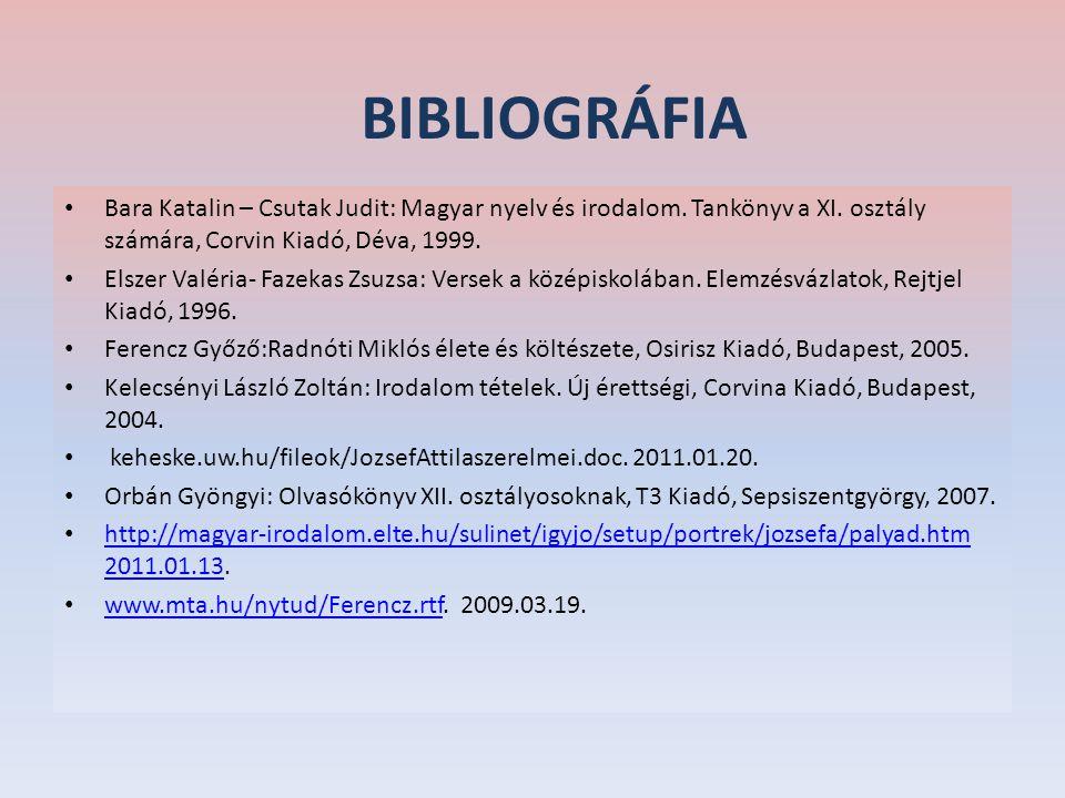 BIBLIOGRÁFIA Bara Katalin – Csutak Judit: Magyar nyelv és irodalom. Tankönyv a XI. osztály számára, Corvin Kiadó, Déva, 1999. Elszer Valéria- Fazekas