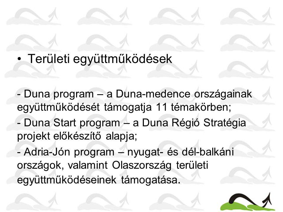 Területi együttműködések - Duna program – a Duna-medence országainak együttműködését támogatja 11 témakörben; - Duna Start program – a Duna Régió Stra