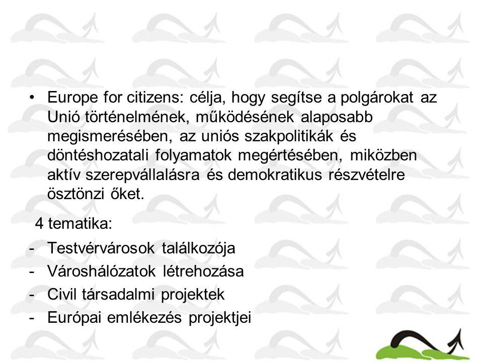 Europe for citizens: célja, hogy segítse a polgárokat az Unió történelmének, működésének alaposabb megismerésében, az uniós szakpolitikák és döntéshoz