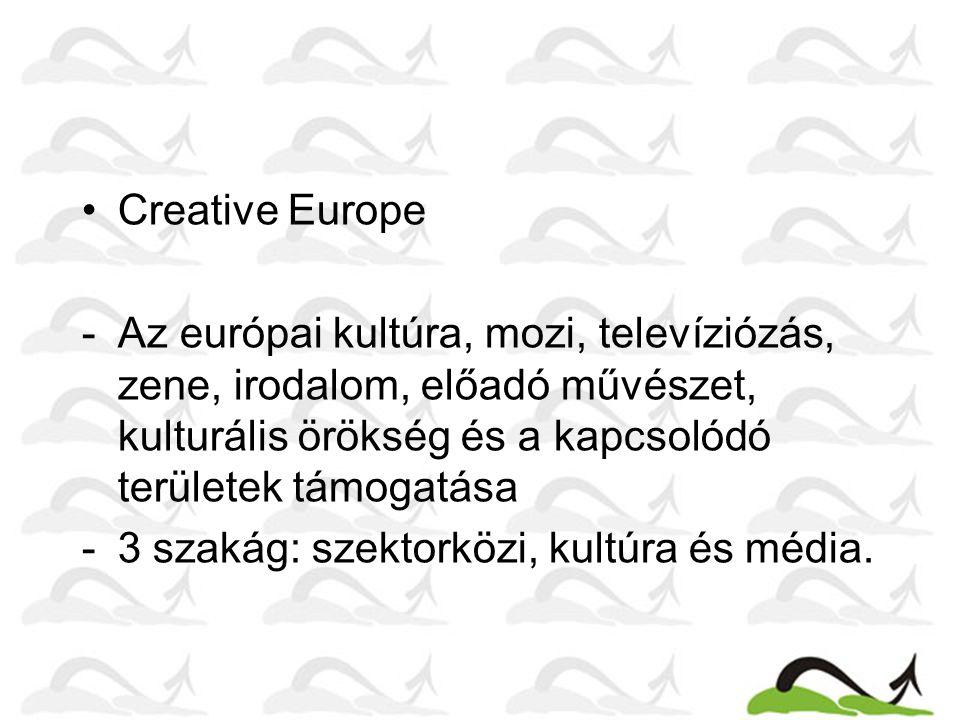 Creative Europe -Az európai kultúra, mozi, televíziózás, zene, irodalom, előadó művészet, kulturális örökség és a kapcsolódó területek támogatása -3 s