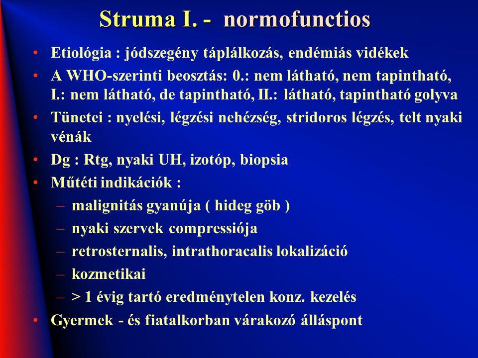 Struma I. - normofunctios Etiológia : jódszegény táplálkozás, endémiás vidékek A WHO-szerinti beosztás: 0.: nem látható, nem tapintható, I.: nem látha