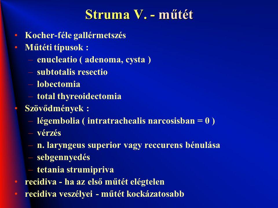 Struma V. - műtét Kocher-féle gallérmetszés Műtéti típusok : –enucleatio ( adenoma, cysta ) –subtotalis resectio –lobectomia –total thyreoidectomia Sz