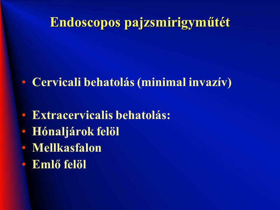 Endoscopos pajzsmirigyműtét Cervicali behatolás (minimal invazív) Extracervicalis behatolás: Hónaljárok felöl Mellkasfalon Emlő felöl