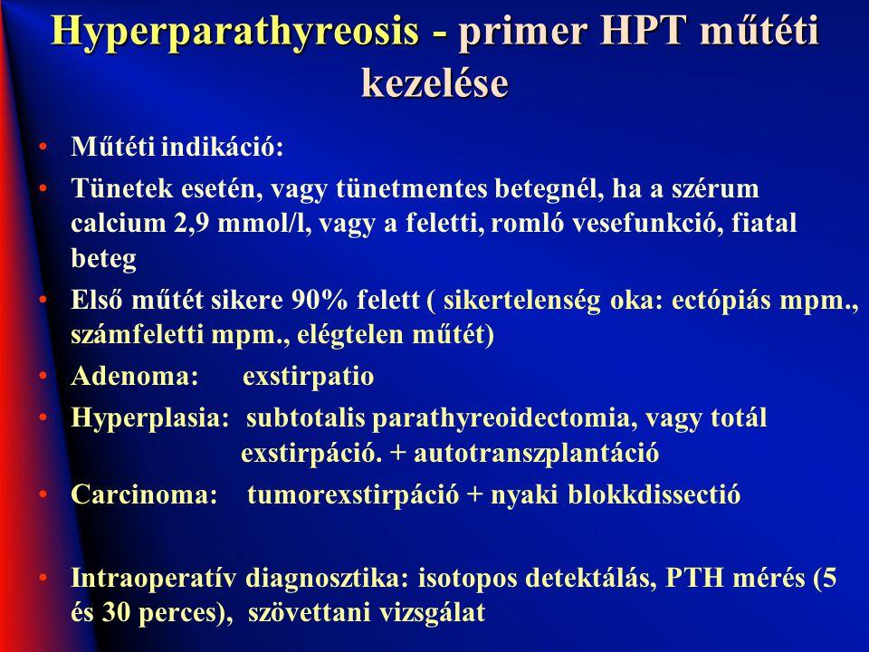 Hyperparathyreosis - primer HPT műtéti kezelése Műtéti indikáció: Tünetek esetén, vagy tünetmentes betegnél, ha a szérum calcium 2,9 mmol/l, vagy a fe