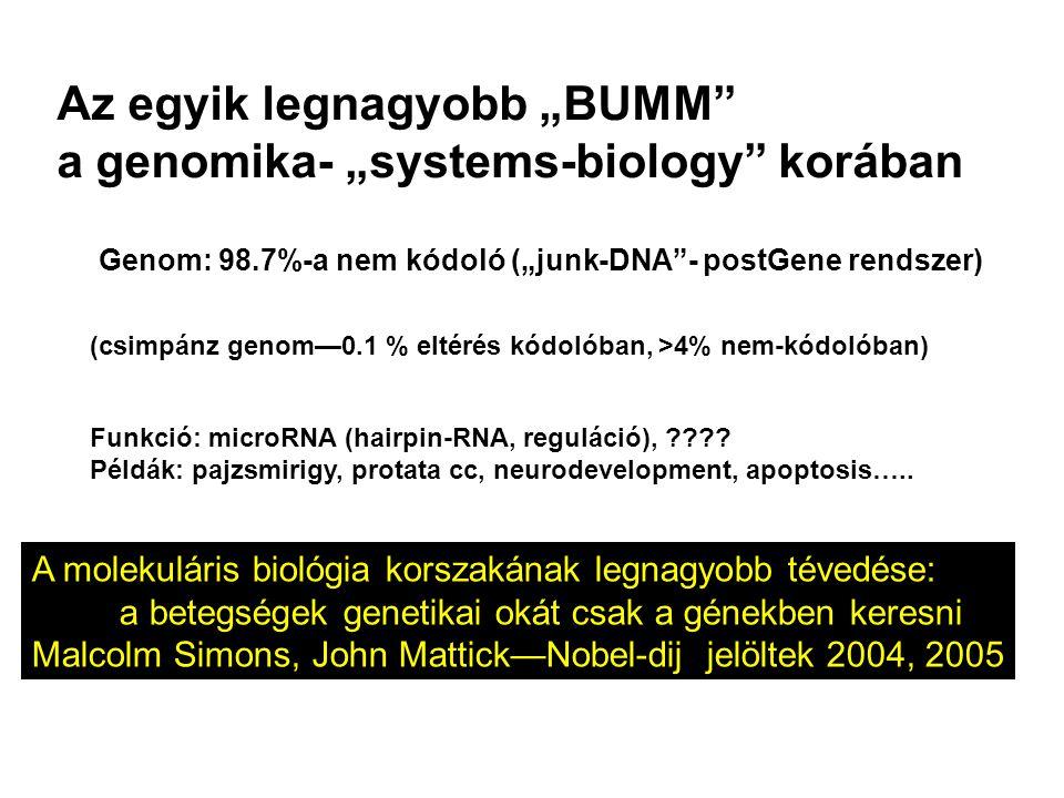 """A molekuláris biológia korszakának legnagyobb tévedése: a betegségek genetikai okát csak a génekben keresni Malcolm Simons, John Mattick—Nobel-dij jelöltek 2004, 2005 Genom: 98.7%-a nem kódoló (""""junk-DNA - postGene rendszer) (csimpánz genom—0.1 % eltérés kódolóban, >4% nem-kódolóban) Funkció: microRNA (hairpin-RNA, reguláció), ???."""