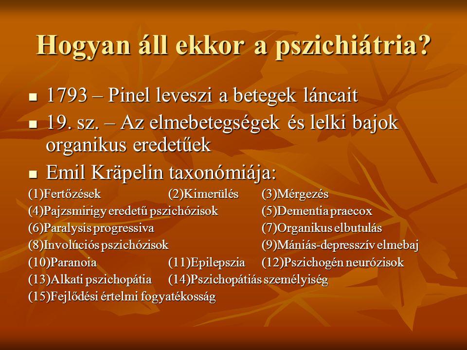 Hogyan áll ekkor a pszichiátria? 1793 – Pinel leveszi a betegek láncait 1793 – Pinel leveszi a betegek láncait 19. sz. – Az elmebetegségek és lelki ba