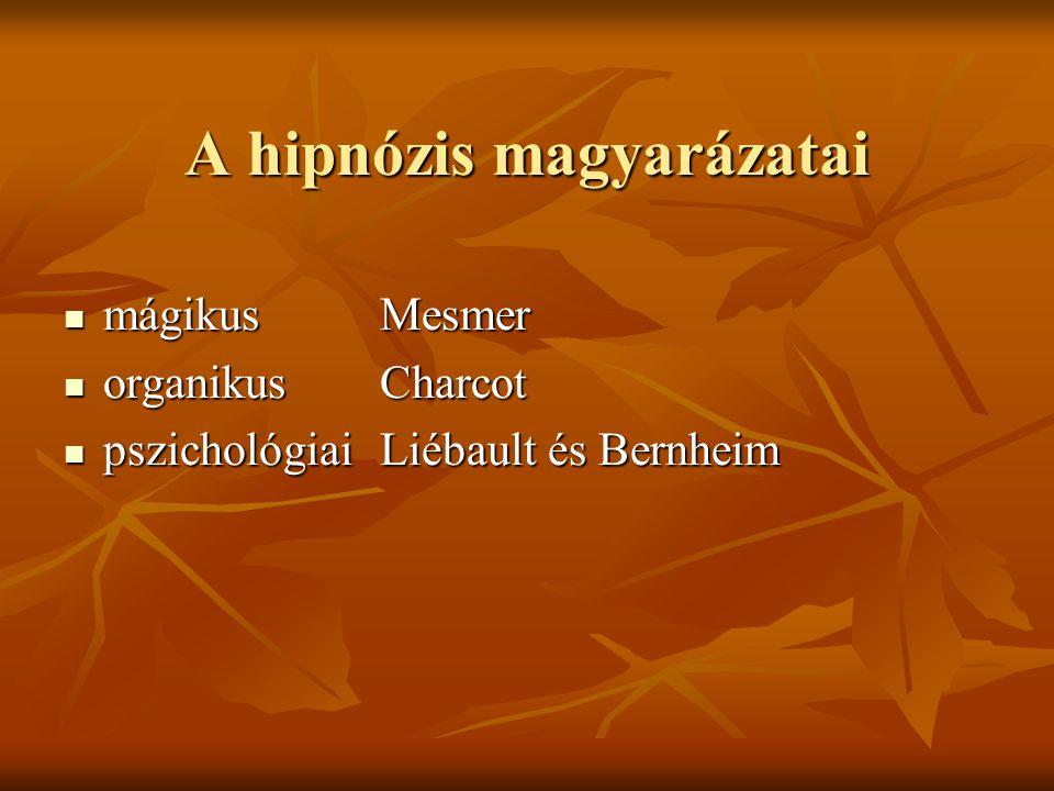 A hipnózis magyarázatai mágikusMesmer mágikusMesmer organikusCharcot organikusCharcot pszichológiaiLiébault és Bernheim pszichológiaiLiébault és Bernh