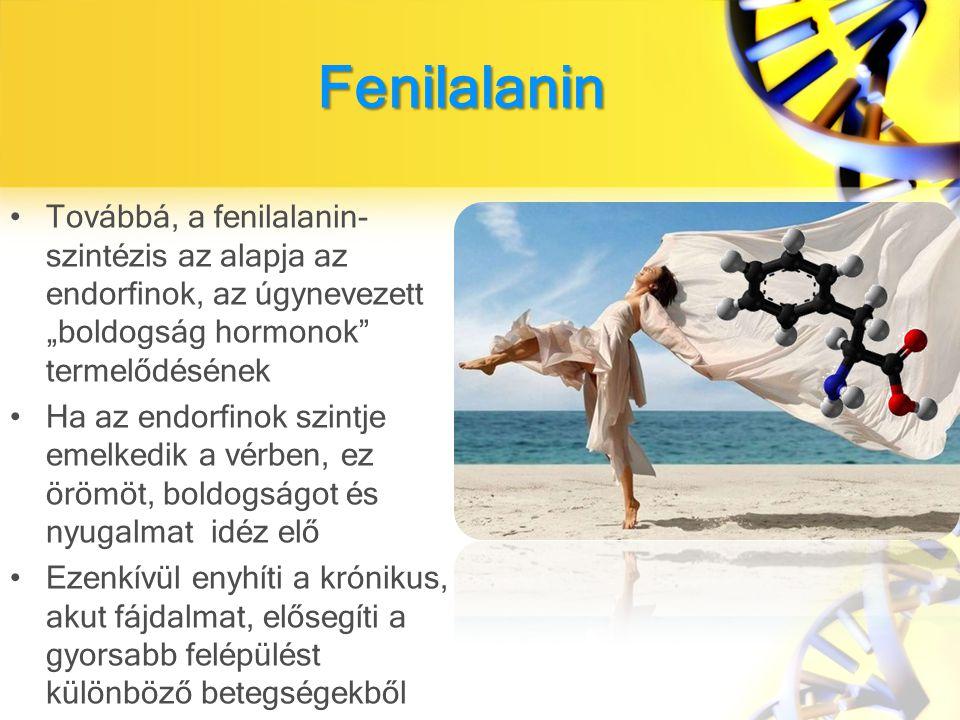 """Továbbá, a fenilalanin- szintézis az alapja az endorfinok, az úgynevezett """"boldogság hormonok termelődésének Ha az endorfinok szintje emelkedik a vérben, ez örömöt, boldogságot és nyugalmat idéz elő Ezenkívül enyhíti a krónikus, akut fájdalmat, elősegíti a gyorsabb felépülést különböző betegségekből Fenilalanin"""
