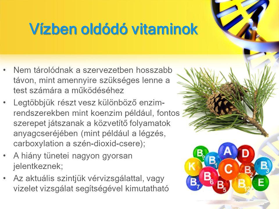 Vízben oldódó vitaminok Nem tárolódnak a szervezetben hosszabb távon, mint amennyire szükséges lenne a test számára a működéséhez Legtöbbjük részt vesz különböző enzim- rendszerekben mint koenzim például, fontos szerepet játszanak a közvetítő folyamatok anyagcseréjében (mint például a légzés, carboxylation a szén-dioxid-csere); A hiány tünetei nagyon gyorsan jelentkeznek; Az aktuális szintjük vérvizsgálattal, vagy vizelet vizsgálat segítségével kimutatható