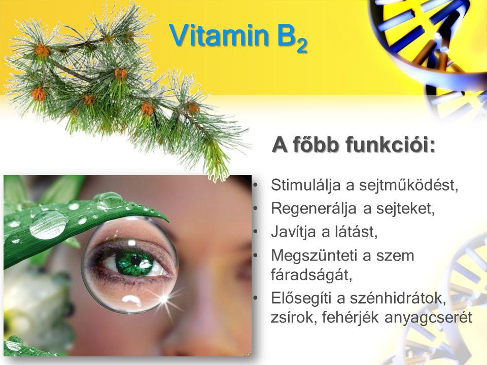 Vitamin B 2 Stimulálja a sejtműködést, Regenerálja a sejteket, Javítja a látást, Megszünteti a szem fáradságát, Elősegíti a szénhidrátok, zsírok, fehérjék anyagcserét A főbb funkciói:
