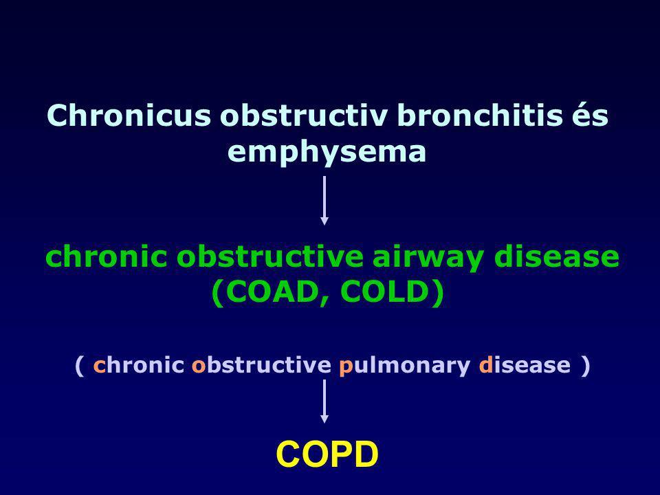 Chronicus obstructiv bronchitis és emphysema chronic obstructive airway disease (COAD, COLD) ( chronic obstructive pulmonary disease ) COPD