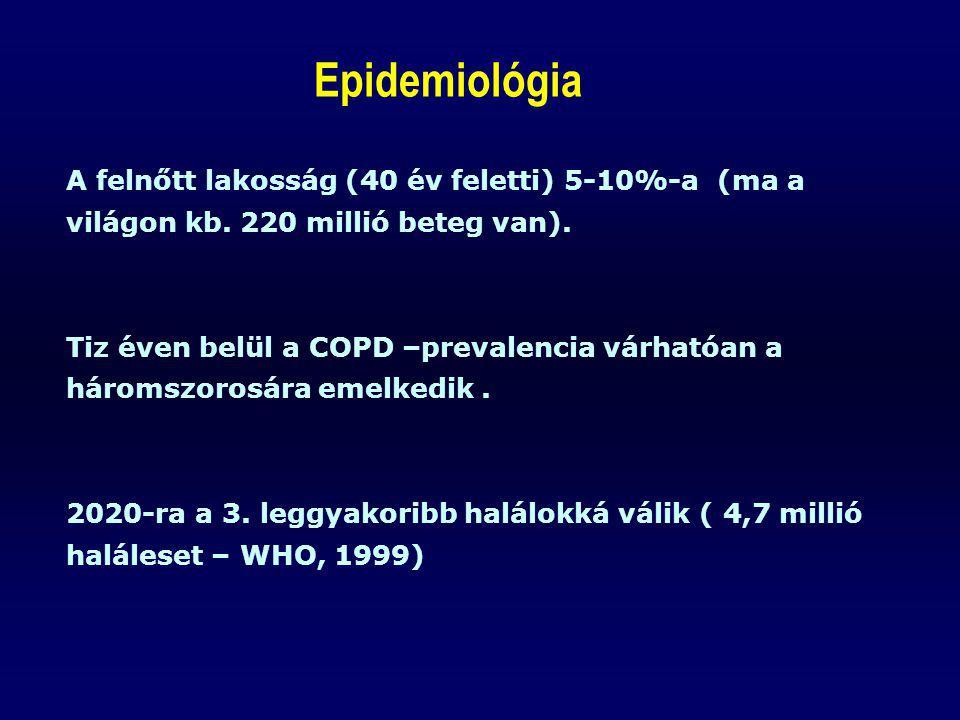 A felnőtt lakosság (40 év feletti) 5-10%-a (ma a világon kb. 220 millió beteg van). Tiz éven belül a COPD –prevalencia várhatóan a háromszorosára emel
