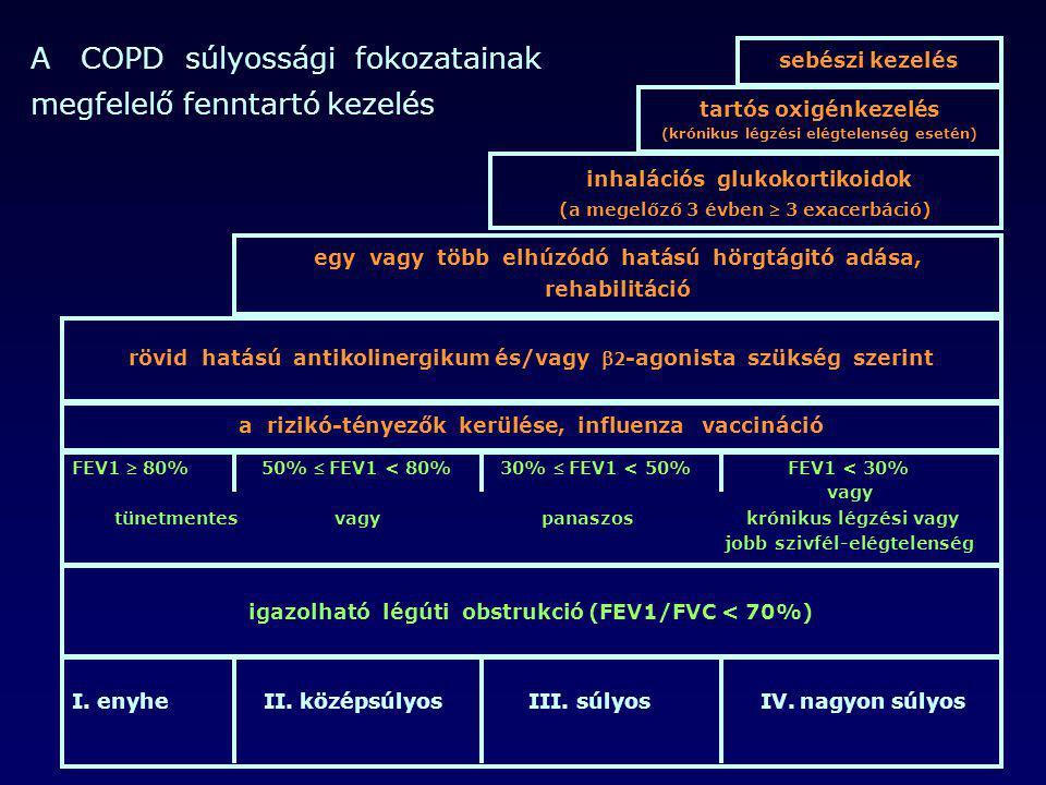 I. enyhe II. középsúlyos III. súlyos IV. nagyon súlyos igazolható légúti obstrukció (FEV1/FVC < 70%) FEV1  80% 50%  FEV1 < 80% 30%  FEV1 < 50% FEV1