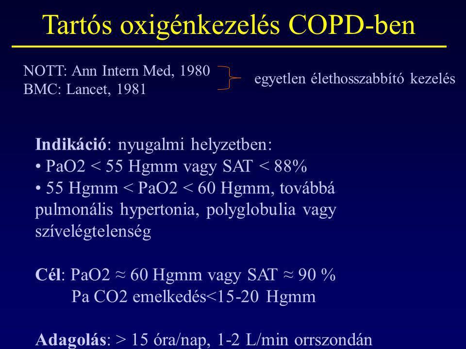 Tartós oxigénkezelés COPD-ben NOTT: Ann Intern Med, 1980 BMC: Lancet, 1981 Indikáció: nyugalmi helyzetben: PaO2 < 55 Hgmm vagy SAT < 88% 55 Hgmm < PaO