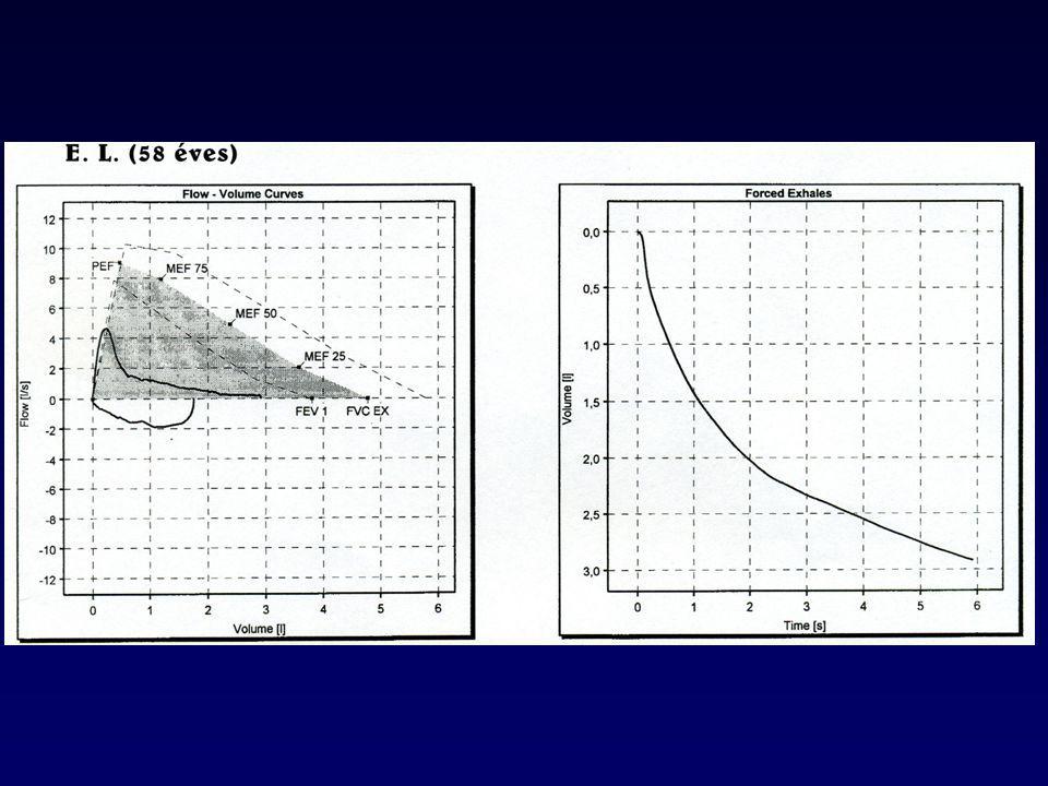 Differenciál diagnosztika Asztma Pangásos szívelgételenség (CHF) Bronchiektázia Obliteratív bronchiolitisz (fiatal,nem dohányos, RA, füst expozíció, HRCT:hipodenz területek) Diffúz panbronchiolitisz (nem dohányzó férfi, szinuszitisz, HRCT:centrilobuláris gócok és hiperinfláció)