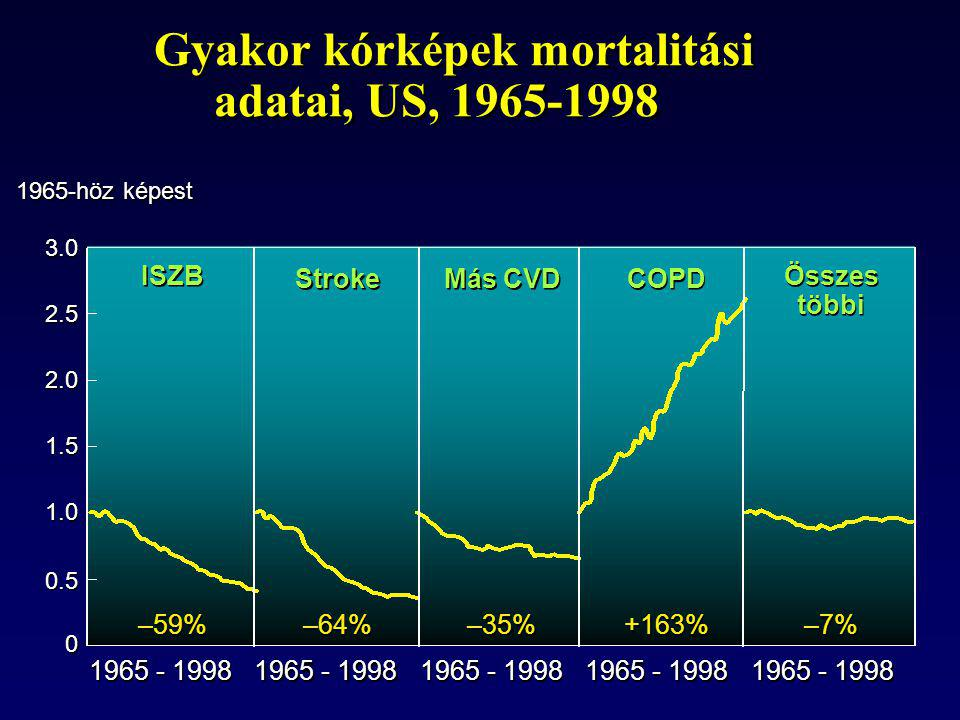 Gyakor kórképek mortalitási adatai, US, 1965-1998 0 0 0.5 1.0 1.5 2.0 2.5 3.0 1965-höz képest 1965 - 1998 –59% –64% –35% +163% –7% ISZB Stroke Más CVD