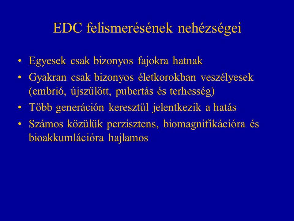 EDC felismerésének nehézségei Egyesek csak bizonyos fajokra hatnak Gyakran csak bizonyos életkorokban veszélyesek (embrió, újszülött, pubertás és terh