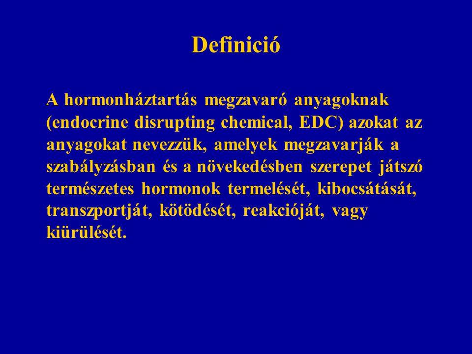Definició A hormonháztartás megzavaró anyagoknak (endocrine disrupting chemical, EDC) azokat az anyagokat nevezzük, amelyek megzavarják a szabályzásban és a növekedésben szerepet játszó természetes hormonok termelését, kibocsátását, transzportját, kötödését, reakcióját, vagy kiürülését.
