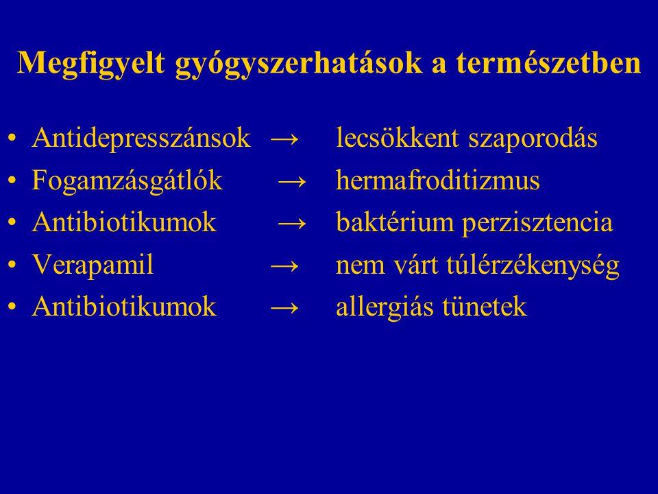 Megfigyelt gyógyszerhatások a természetben Antidepresszánsok→lecsökkent szaporodás Fogamzásgátlók → hermafroditizmus Antibiotikumok → baktérium perzisztencia Verapamil → nem várt túlérzékenység Antibiotikumok → allergiás tünetek