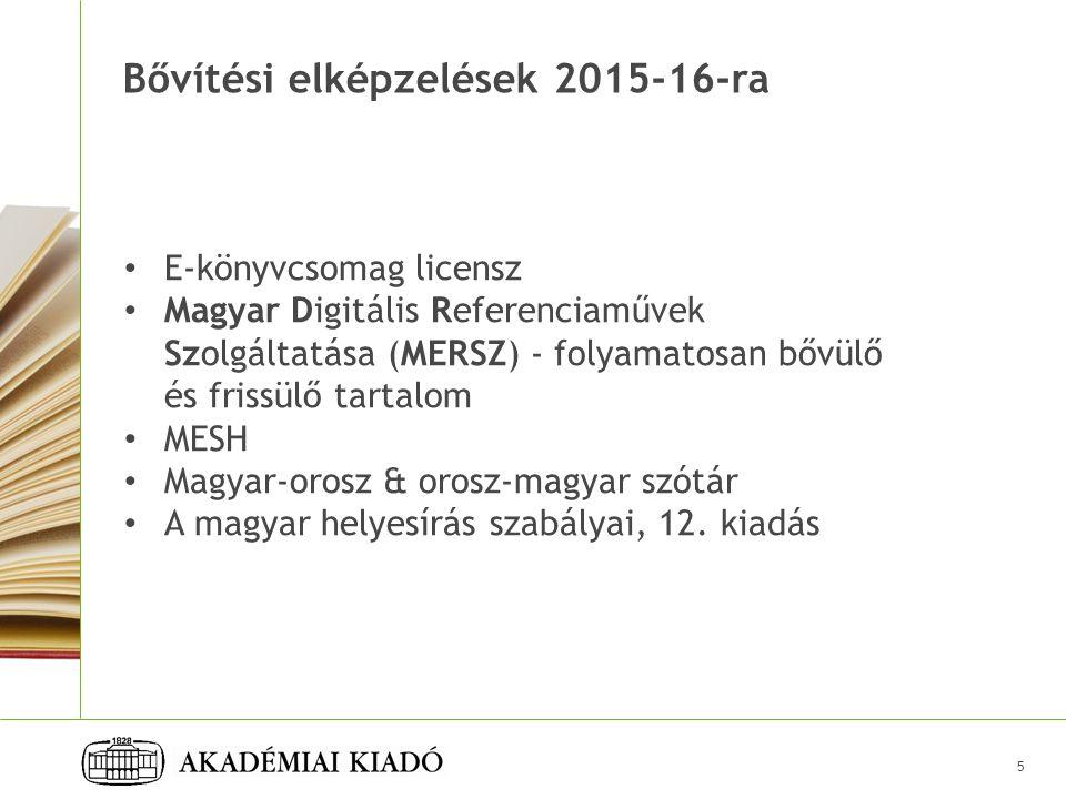 Bővítési elképzelések 2015-16-ra 5 E-könyvcsomag licensz Magyar Digitális Referenciaművek Szolgáltatása (MERSZ) - folyamatosan bővülő és frissülő tartalom MESH Magyar-orosz & orosz-magyar szótár A magyar helyesírás szabályai, 12.