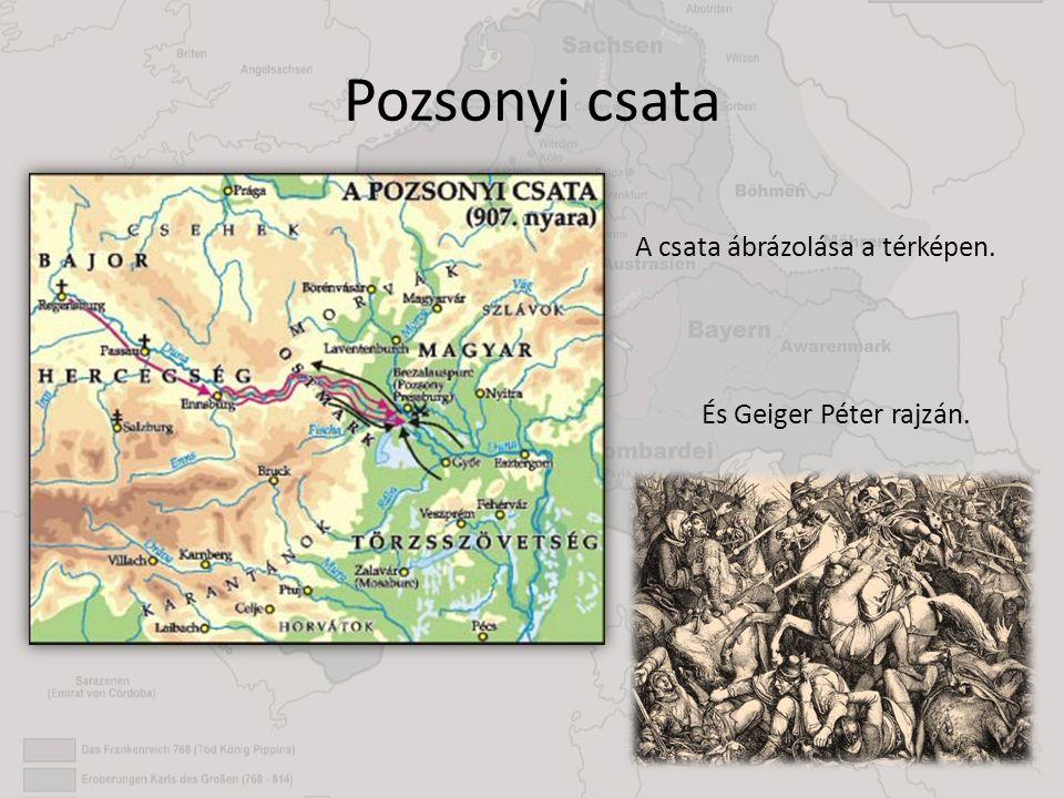 Pozsonyi csata A csata ábrázolása a térképen. És Geiger Péter rajzán.