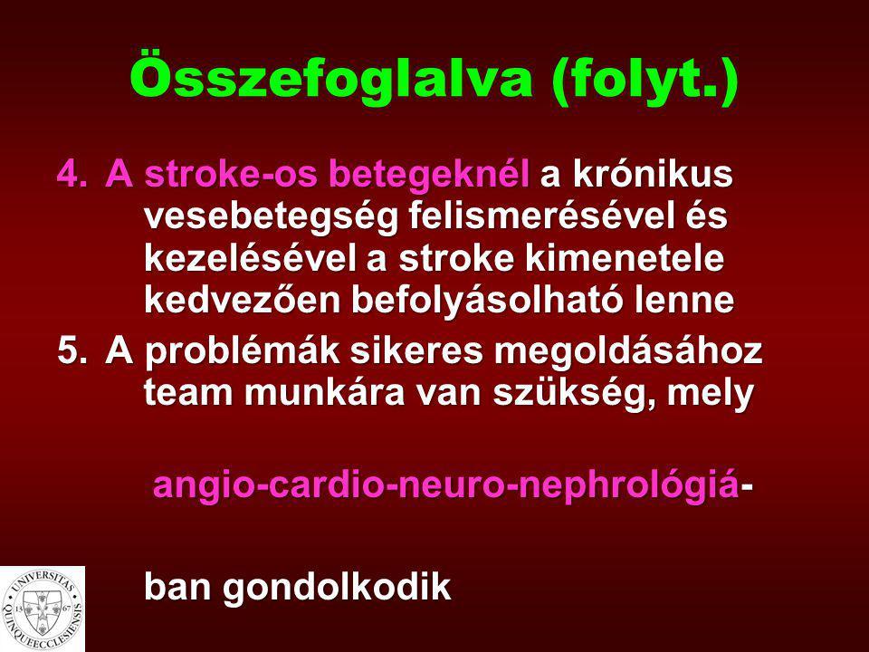 Összefoglalva (folyt.) 4.A stroke-os betegeknél a krónikus vesebetegség felismerésével és kezelésével a stroke kimenetele kedvezően befolyásolható len