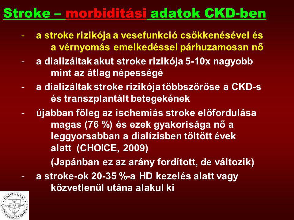 És fordítva … -stroke-ban gyakori a tünetek nélküli csökkent vesefunkció (CKD?) -a stroke idején mért vesefunkció megjósolja a követési idő alatti mortalitást