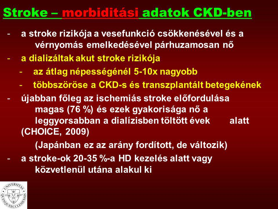 Összefoglalva 1.Krónikus vesebetegekben a stroke/TIA előfordulása gyakori, a vesefunkció csökkenésével nő az előfordulás 2.Stroke-os betegek 60 %-ában beszűkült a vesefunkció, mely szignifikánsan összefügg a stroke hosszútávú kimenetelével 3.A stroke rizikófaktorainak korai felismerésével és kezelésével a stroke előfordulása csökkenthető krónikus vesebetegekben (is)