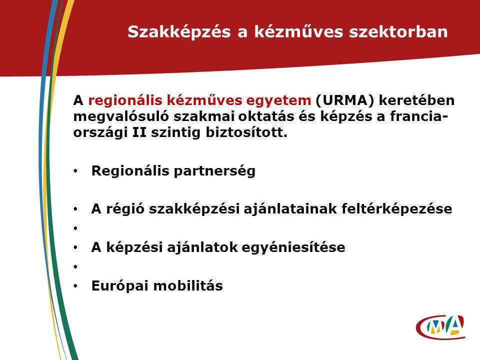 Szakképzés a kézműves szektorban A regionális kézműves egyetem (URMA) keretében megvalósuló szakmai oktatás és képzés a francia- országi II szintig biztosított.