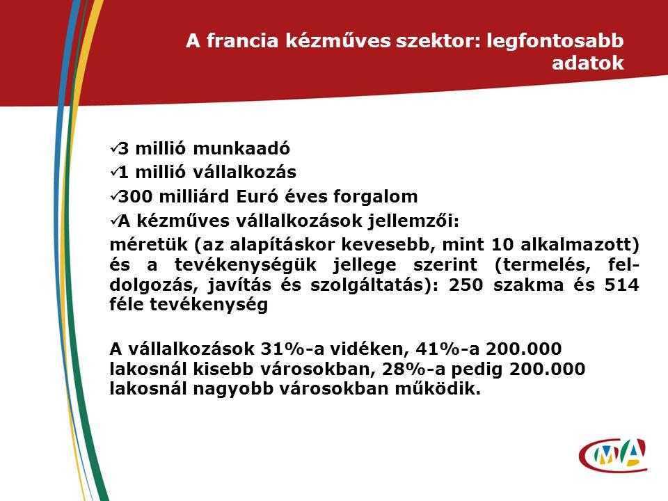 A francia kézműves szektor: legfontosabb adatok 3 millió munkaadó 1 millió vállalkozás 300 milliárd Euró éves forgalom A kézműves vállalkozások jellem