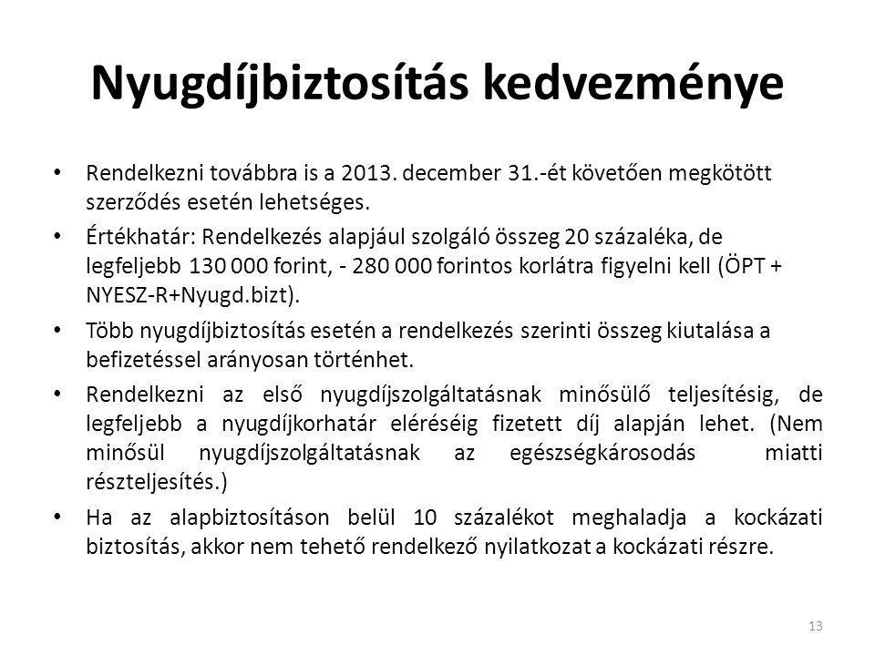 Nyugdíjbiztosítás kedvezménye Rendelkezni továbbra is a 2013. december 31.-ét követően megkötött szerződés esetén lehetséges. Értékhatár: Rendelkezés