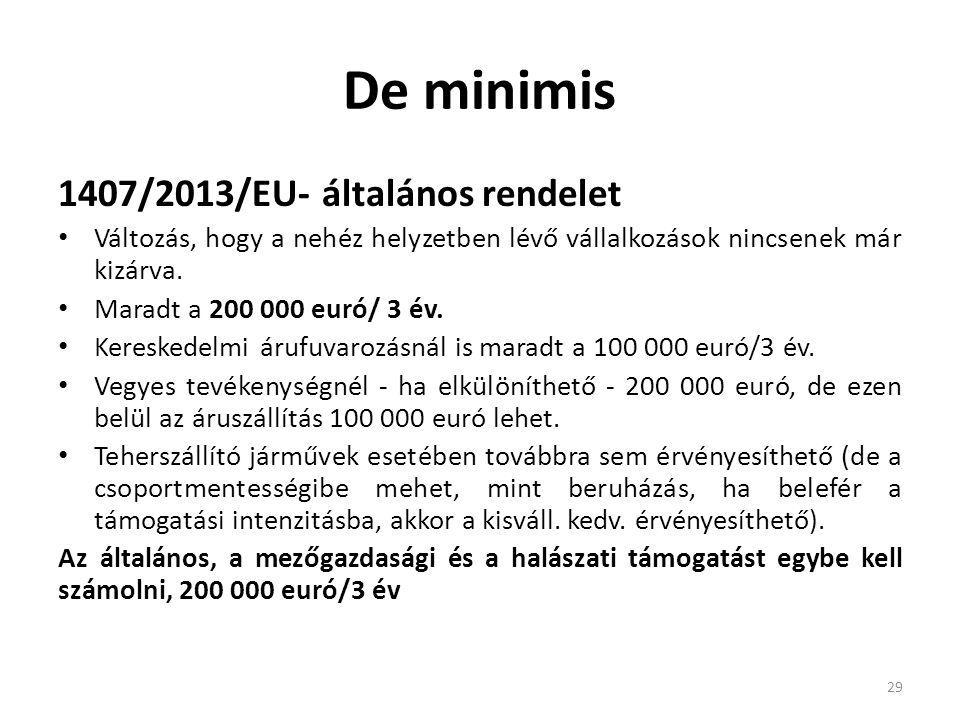 De minimis 1407/2013/EU- általános rendelet Változás, hogy a nehéz helyzetben lévő vállalkozások nincsenek már kizárva. Maradt a 200 000 euró/ 3 év. K