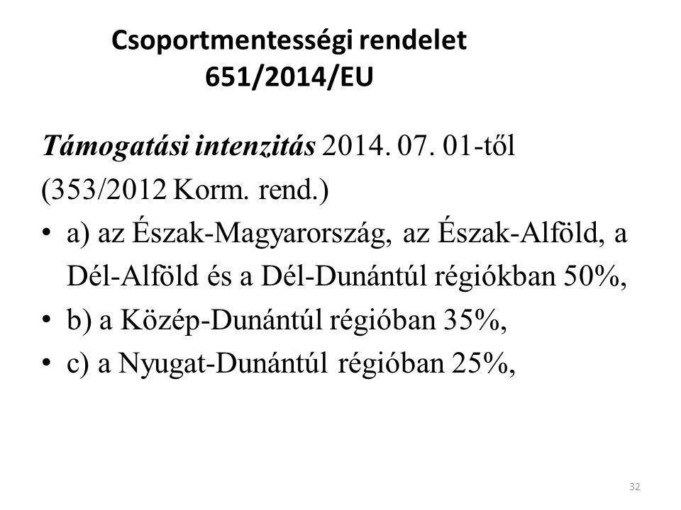 Csoportmentességi rendelet 651/2014/EU Támogatási intenzitás 2014. 07. 01-től (353/2012 Korm. rend.) a) az Észak-Magyarország, az Észak-Alföld, a Dél-