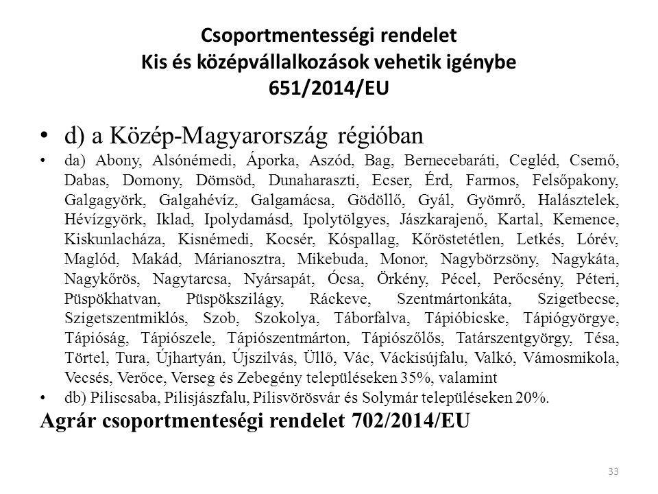 Csoportmentességi rendelet Kis és középvállalkozások vehetik igénybe 651/2014/EU d) a Közép-Magyarország régióban da) Abony, Alsónémedi, Áporka, Aszód
