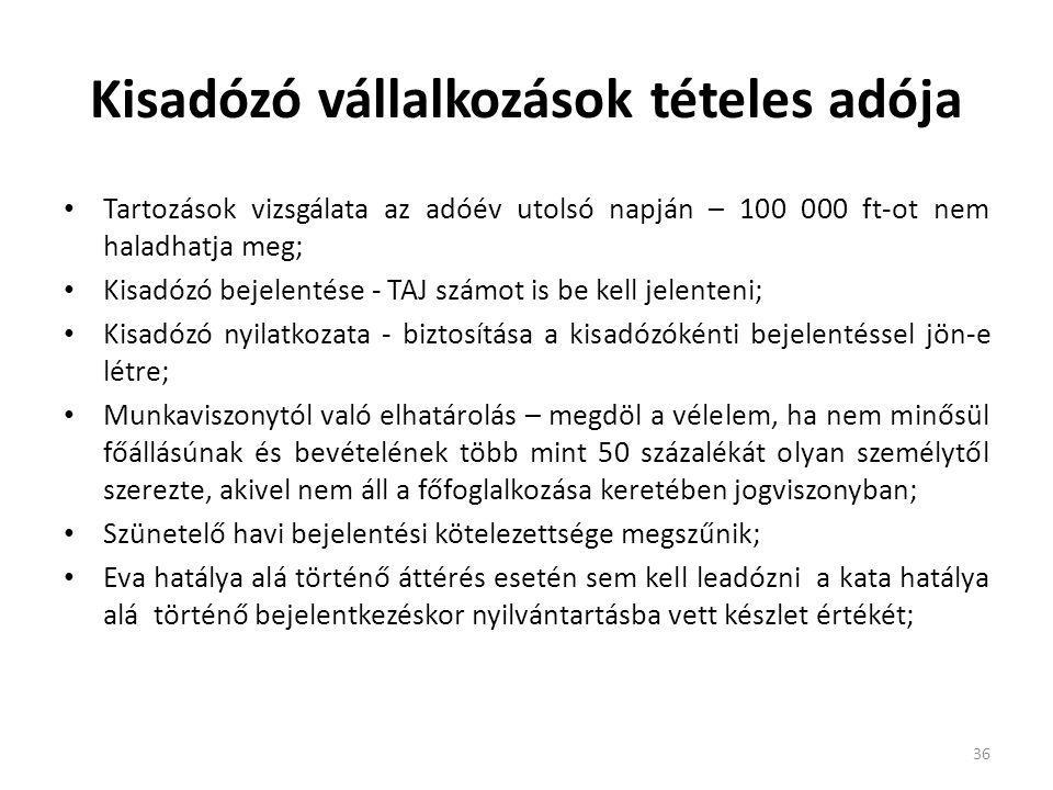 Kisadózó vállalkozások tételes adója Tartozások vizsgálata az adóév utolsó napján – 100 000 ft-ot nem haladhatja meg; Kisadózó bejelentése - TAJ számo