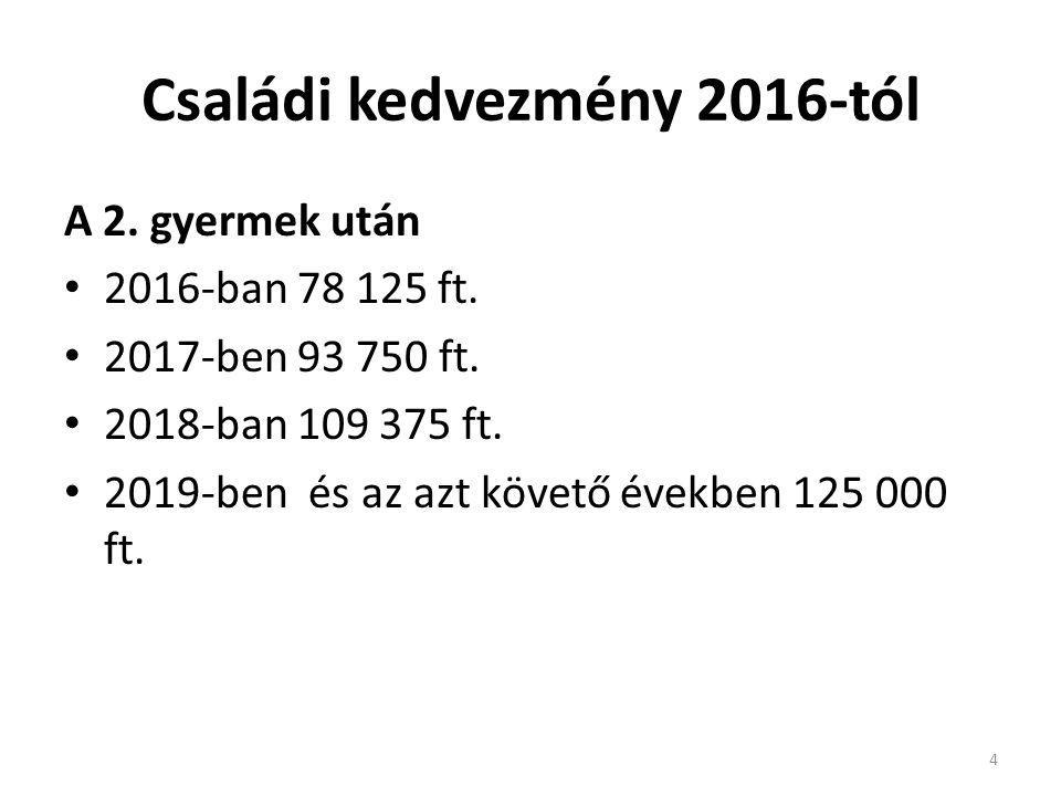 Családi kedvezmény 2016-tól A 2. gyermek után 2016-ban 78 125 ft. 2017-ben 93 750 ft. 2018-ban 109 375 ft. 2019-ben és az azt követő években 125 000 f