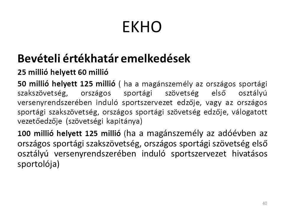 EKHO Bevételi értékhatár emelkedések 25 millió helyett 60 millió 50 millió helyett 125 millió ( ha a magánszemély az országos sportági szakszövetség,
