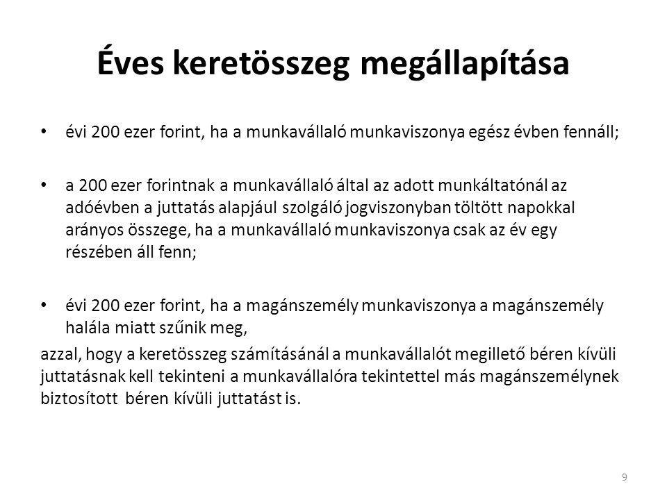 Éves keretösszeg megállapítása évi 200 ezer forint, ha a munkavállaló munkaviszonya egész évben fennáll; a 200 ezer forintnak a munkavállaló által az