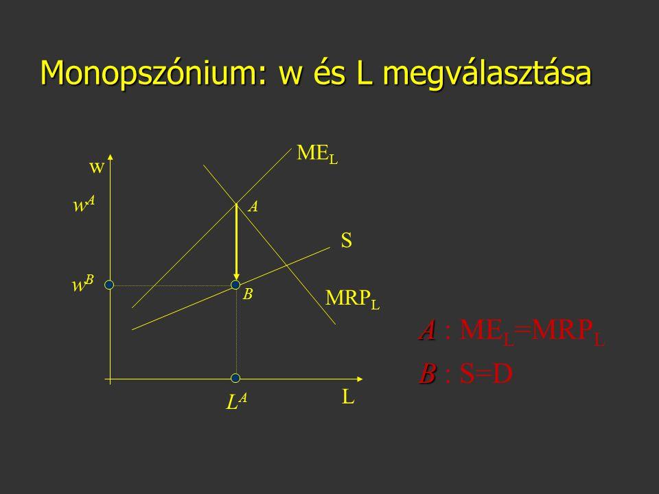 Monopszónium: w és L megválasztása ME L MRP L w L S A B A A : ME L =MRP L B B : S=D wBwB LALA wAwA