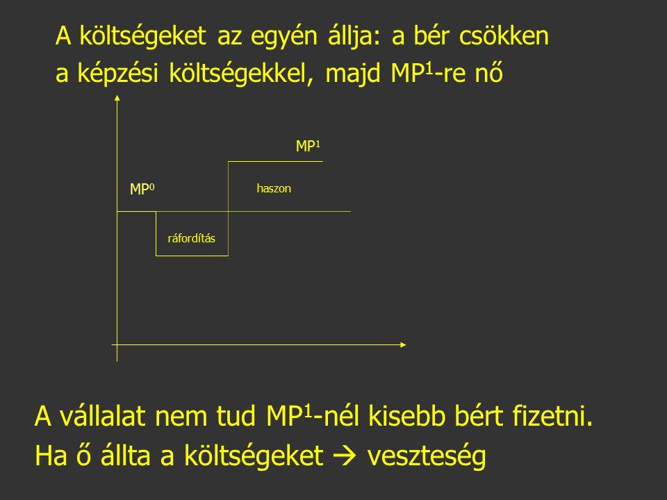 MP 0 MP 1 A vállalat nem tud MP 1 -nél kisebb bért fizetni. Ha ő állta a költségeket  veszteség ráfordítás haszon A költségeket az egyén állja: a bér