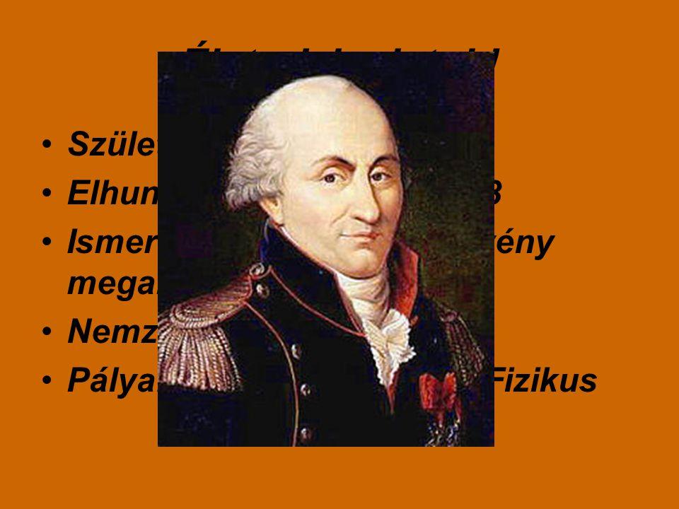 Életrajzi adatok! Született:1736.június.14 Elhunyt:1806.augusztus.23 Ismeretes: a Coulomb törvény megalkotása! Nemzetiség:Francia Pályafutása:szakterü