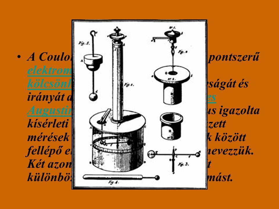 Coulomb törvény! A Coulomb-törvény a fizikában két pontszerű elektromos töltés közti elektromos kölcsönhatásból származó erő nagyságát és irányát adja