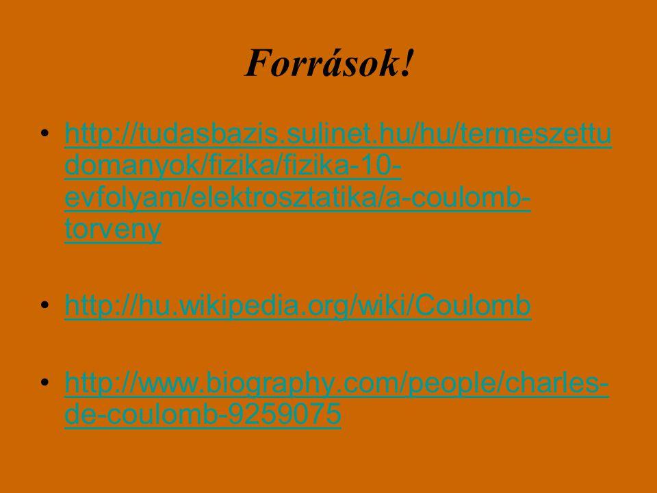 Források! http://tudasbazis.sulinet.hu/hu/termeszettu domanyok/fizika/fizika-10- evfolyam/elektrosztatika/a-coulomb- torvenyhttp://tudasbazis.sulinet.
